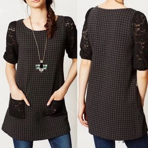 Anthropologie Postmark Black Gray Tunic with Lace